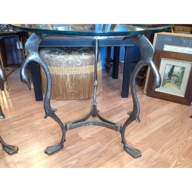 Pair of Midcentury French Steel Swan Motif Tables For Sale In West Palm - Image 6 of 7