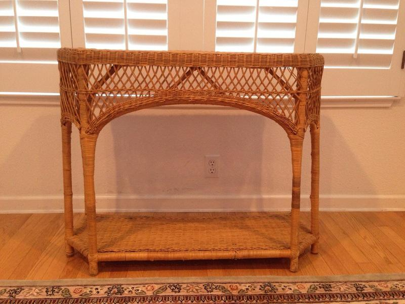 Genial Natural Wicker Console Table   Image 2 Of 5
