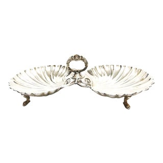 Late 19th Century Double Shell Silver Serving Dish For Sale