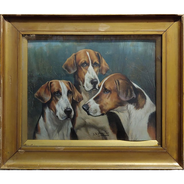 John Arnold Alfred Wheeler -three English Fox Hounds -19th century Oil painting Oil painting on board -signed frame size...
