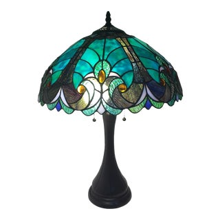 Teal/Blue Tiffany Studio-Style Lamp