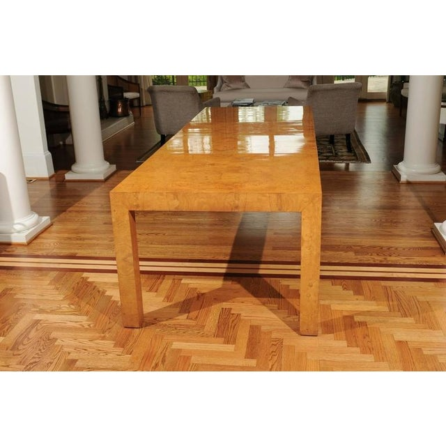 Outstanding Extension Dining or Conference Table in Bookmatched Olivewood For Sale - Image 10 of 10