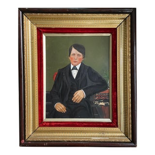 19th C. American School Hersey Family Portrait Painting of Young Boy in Gilt Frame For Sale