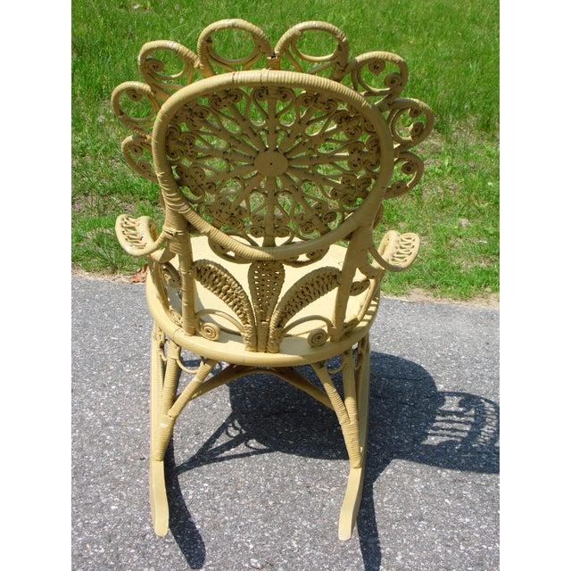 Antique Victorian Ornate Wicker Portrait Rocking Chair Rocker For Sale - Image 10 of 13