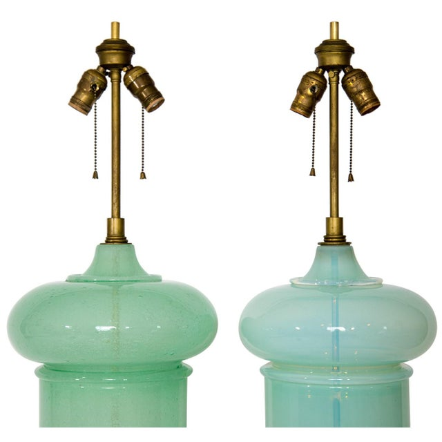 Monumental Blown Art Glass Lamps - a Pair For Sale - Image 4 of 12