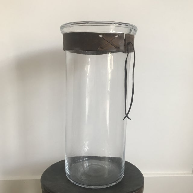 Blown Glass Vase With Leather Detail For Sale - Image 11 of 11