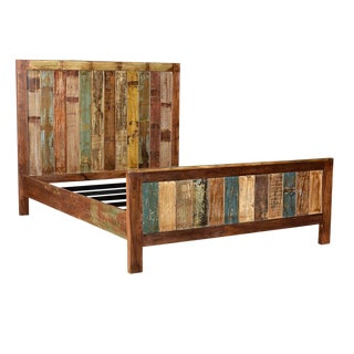 Salvaged Painted Wood Panel Queen Bed Frame For Sale