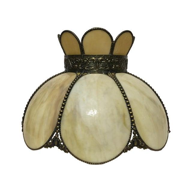 Cream & Tan Slag Glass Lamp Shade - Image 1 of 7