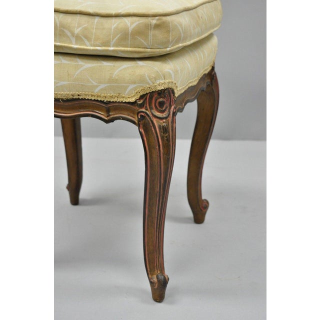 Mid 20th Century Vintage French Provincial Louis XV Style Upholstered Stool Bench For Sale - Image 5 of 10