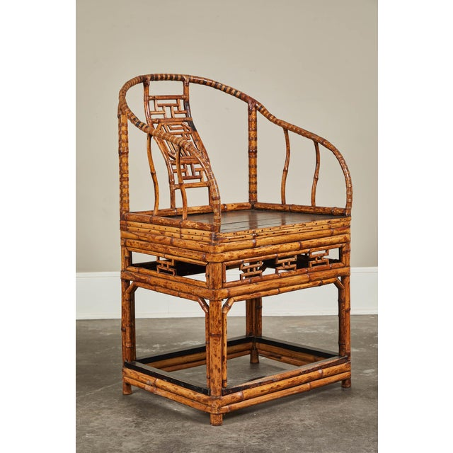 Mid 19th Century 19th C. Chinese Bamboo Horseshoe Armchair For Sale - Image 5 of 10