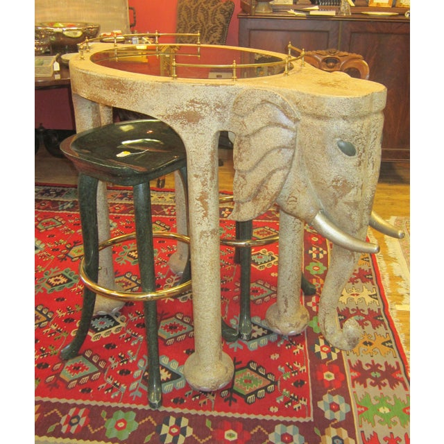 Boho Chic Marge Carson Elephant Bar Table And Stools For Sale - Image 3 of 5