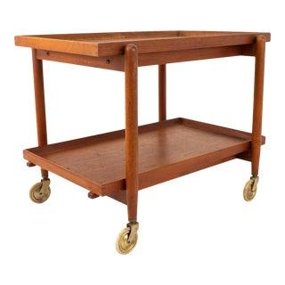 Poul Hundevad Mid Century Danish Teak Dining Bar Cart For Sale