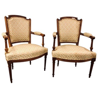 French Custom Louis XVI Style Carved Bergere, Office or Armchairs - a Pair For Sale