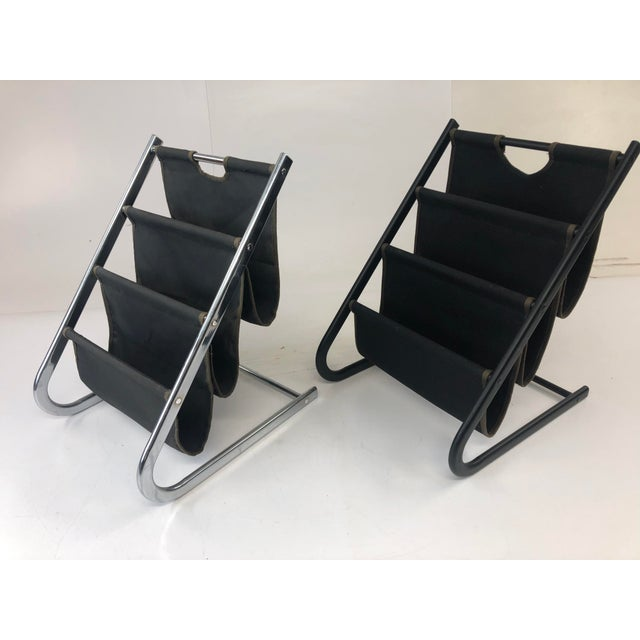 Canvas Vintage Mid Century Modern Sling Style Magazine Racks - a Pair For Sale - Image 7 of 11
