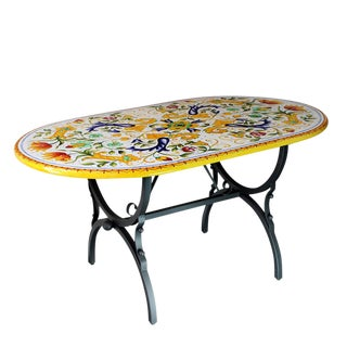 Italian Hand Painted Deruta Ceramic Stone Table + Iron Base Dining Table For Sale