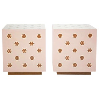Contemporary Style Mahogany End Tables - a Pair For Sale