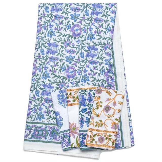 Contemporary Aria Tablecloth, 4-seat table - Lavender & Blue For Sale - Image 3 of 4
