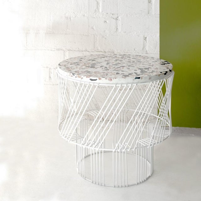 Contemporary Contemporary Indoor/Outdoor Terrazzo Table in White For Sale - Image 3 of 9