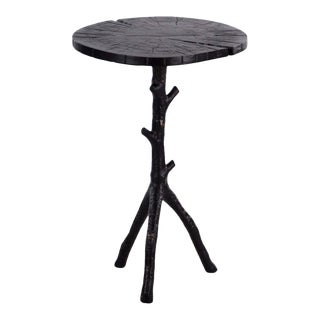 Contemporary Currey & Co. Aluminum Cast Swinley Accent Table For Sale