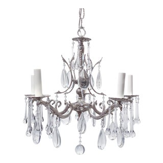 Vintage Silver Plated Spanish Style Chandelier For Sale