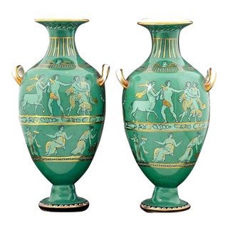 English Porcelain Neoclassical Jade Green-Ground Vases,