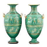 Image of English Porcelain Neoclassical Jade Green-Ground Vases - a Pair For Sale