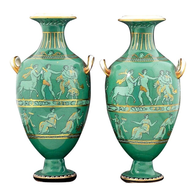English Porcelain Neoclassical Jade Green-Ground Vases - a Pair For Sale