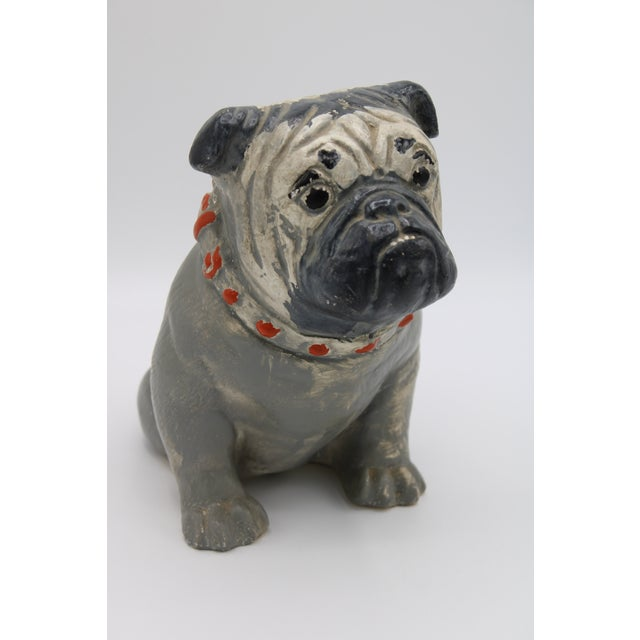 1930s Chalkware Carnival Prize Bulldog Statue For Sale - Image 6 of 12