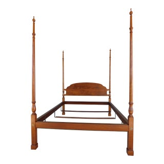 Louis Irion Tiger Maple Chippendale Style Queen Size Poster Bed