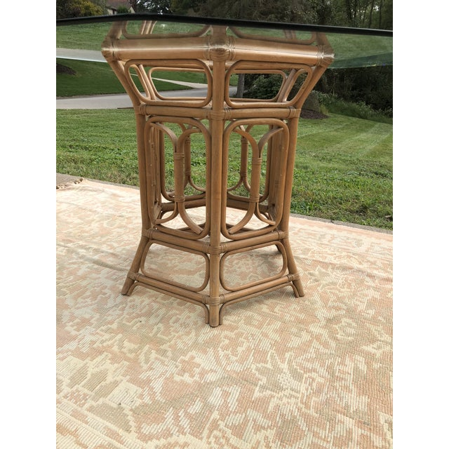 Boho McGuire Style Bent Rattan Table + Octagon Shaped, Beveled Glass Top For Sale - Image 9 of 11