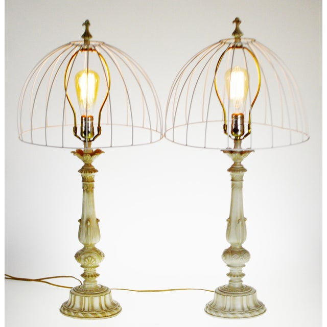 Vintage Metal Candlestick Table Lamps With Metal Cage lamp shades - a Pair For Sale - Image 12 of 12