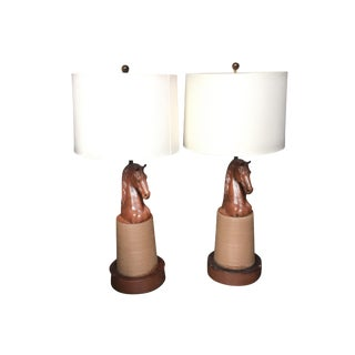 20th Century Lacquered Wood Horse Head Table Lamps - a Pair