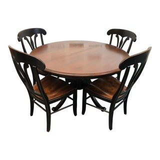 Stockbridge Pedestal Dining Table + 4 Country Manor Dining Chairs by Nichols & Stone For Sale