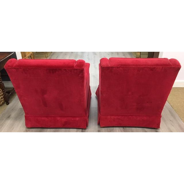 Pair Red Velveteen Chairs For Sale - Image 4 of 6