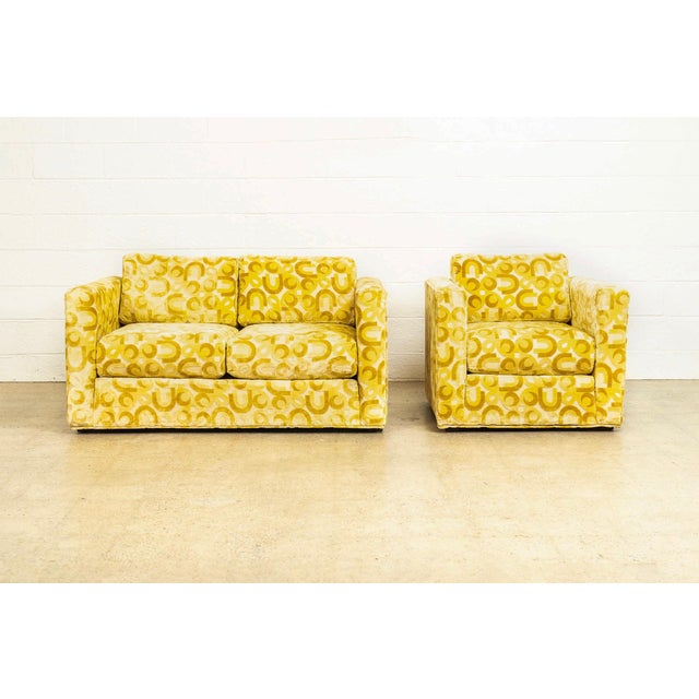 Mid-Century Modern Mid Century 1970s Yellow Loveseat and Lounge Chair For Sale - Image 3 of 12