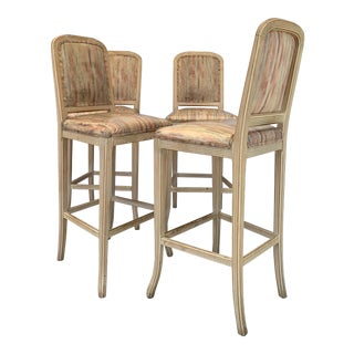 1960s Vintage White Washed Country Style Bar Stools- Set of 4 For Sale