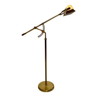 Adjustable Antique Brass Pharmacy Lamp For Sale