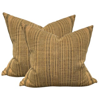 Pair of Early 20th Century Thai Hill Tribe Striped Linen Pillows For Sale