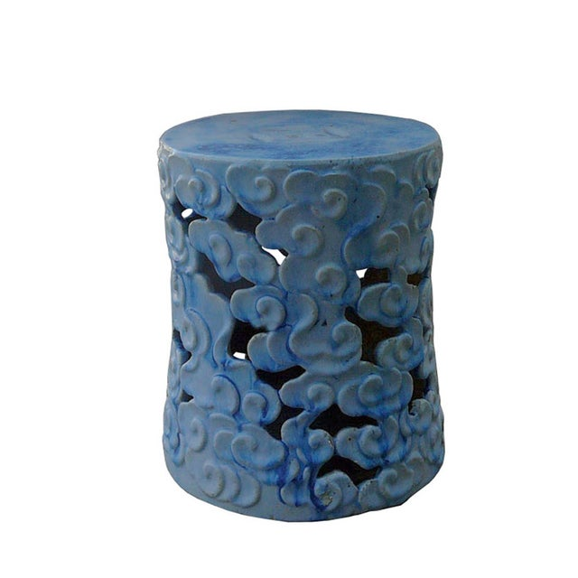 Chinese Ceramic Clay Light Blue Glaze Round Scroll Pattern Garden Stool For Sale - Image 3 of 6