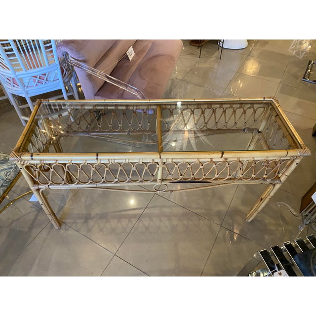 Tan Vintage Tropical Palm Beach Rattan Glass Top Console Sofa Table For Sale - Image 8 of 12