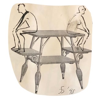 Two Figures on a Victorian Table Collage Drawing For Sale