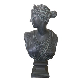 Mid-Century Modern Black Ceramic Bust of Diana For Sale
