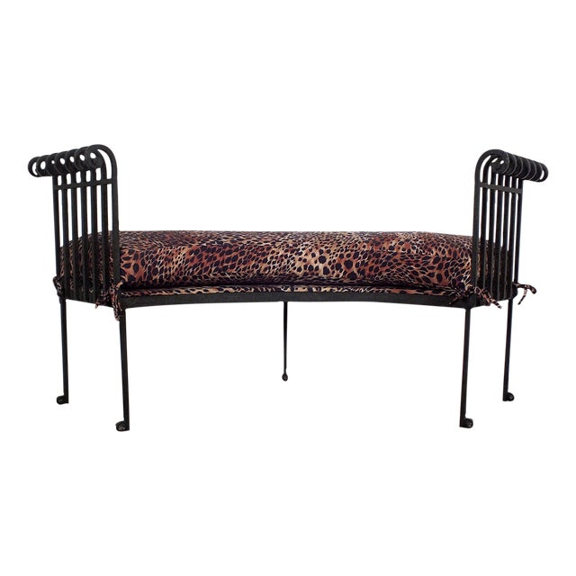 Hammered Iron Upholstered Curved Bench Leopard - Image 1 of 10
