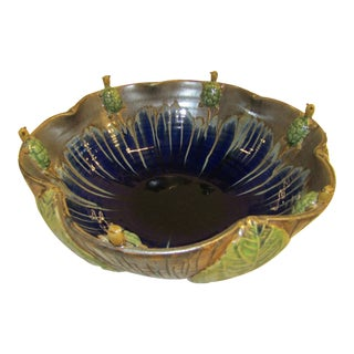 Majolica Style Leaf Bowl With Applied Turtles For Sale