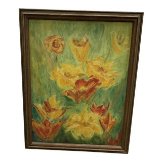 Early 20th Century Modernist Floral Oil Painting For Sale