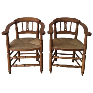 Pair of Spanish Horseshoe Back and Cane Armchairs For Sale