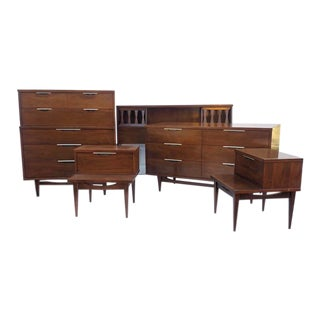 "Kent Coffey ""Tableau"" Bedroom Set- Dressers, Nightstands, Queen Headboard For Sale"