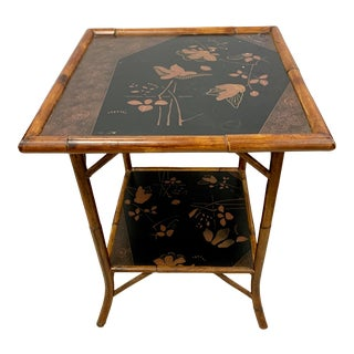 Antique Bamboo Japanned End Table For Sale