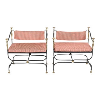 Pair of Italian Iron and Brass Savonarola Chairs With Loose Cushions For Sale