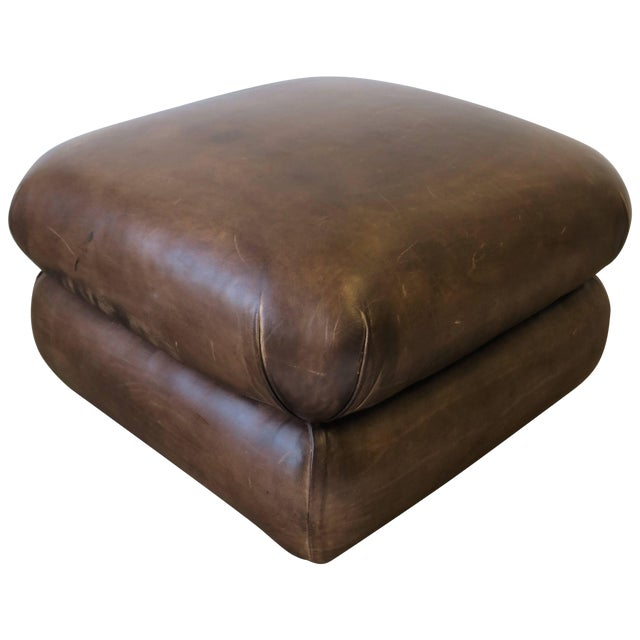 Postmodern Brown Leather Ottoman by George Smith, Ca. 1990s For Sale